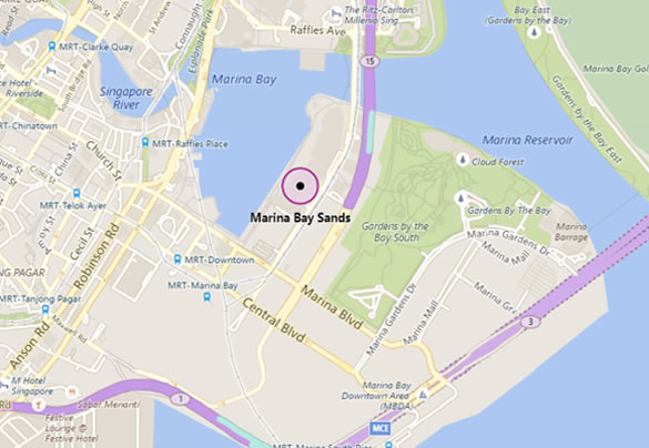 Map of Singapore showing location of Marina Bay Sands hotel