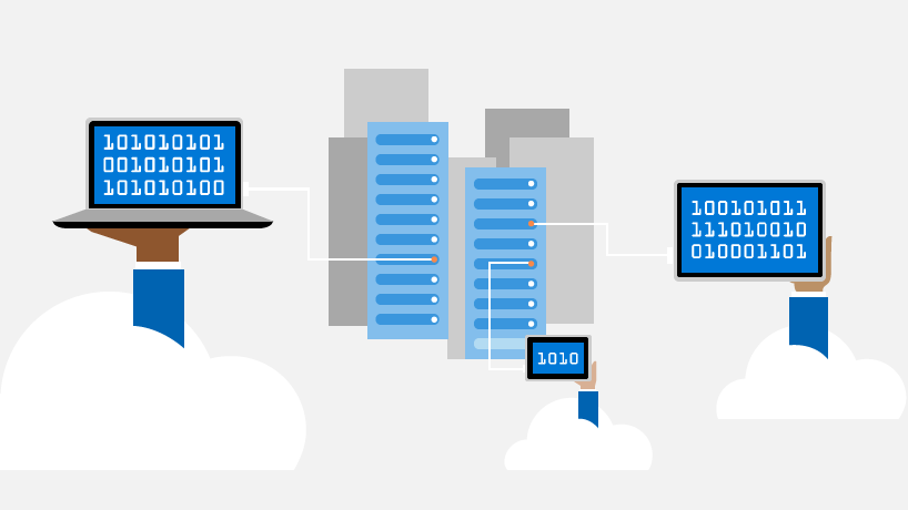 Conceptual illustration of computers and devices running Windows 10 in the cloud.