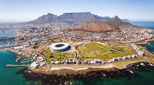 Aerial image of Cape Town, South Africa