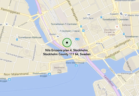 Map of Stockholm, Sweden showing location of Stockholm Waterfront Convention Centre