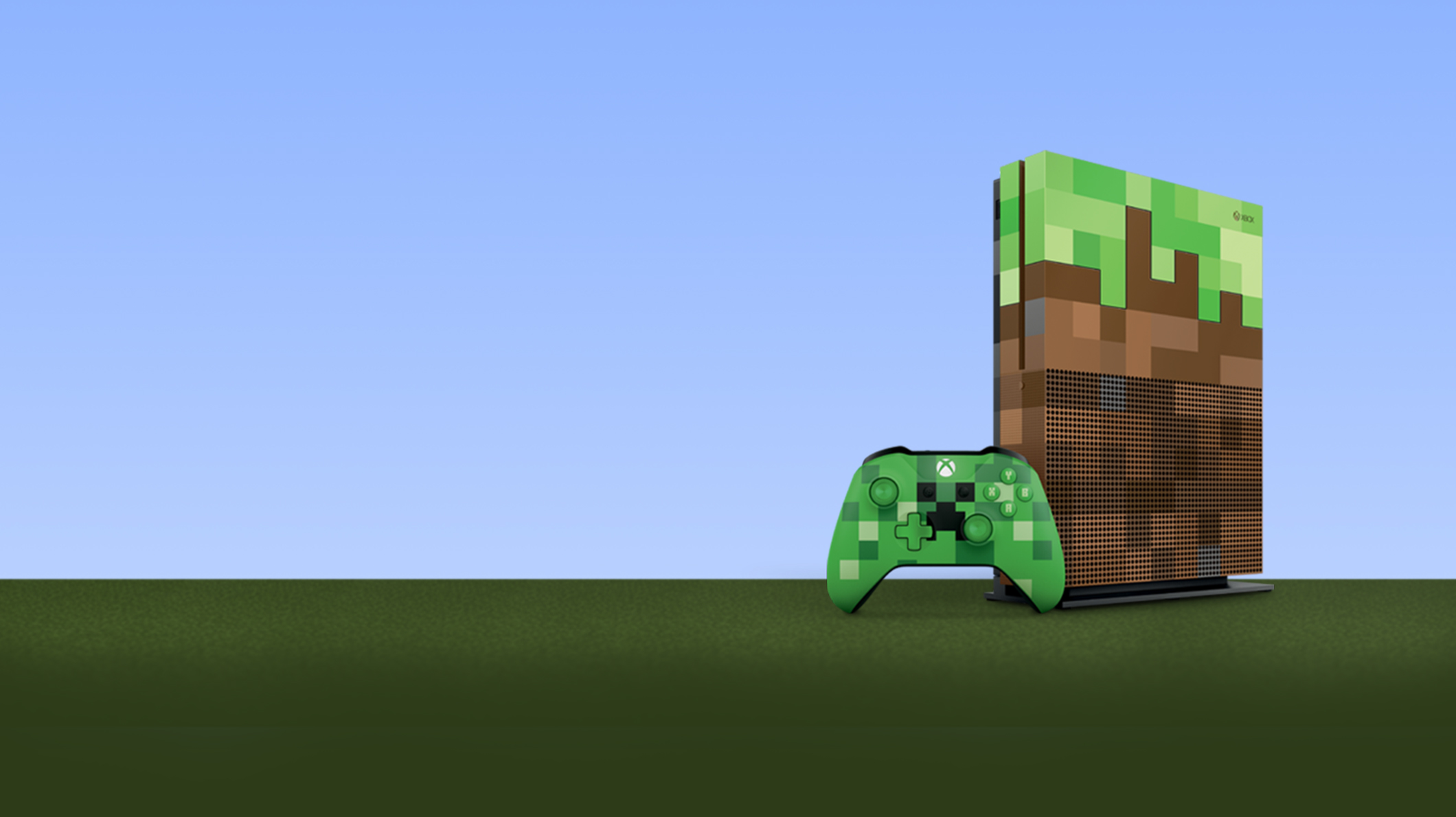 An Xbox One S Minecraft controller and console