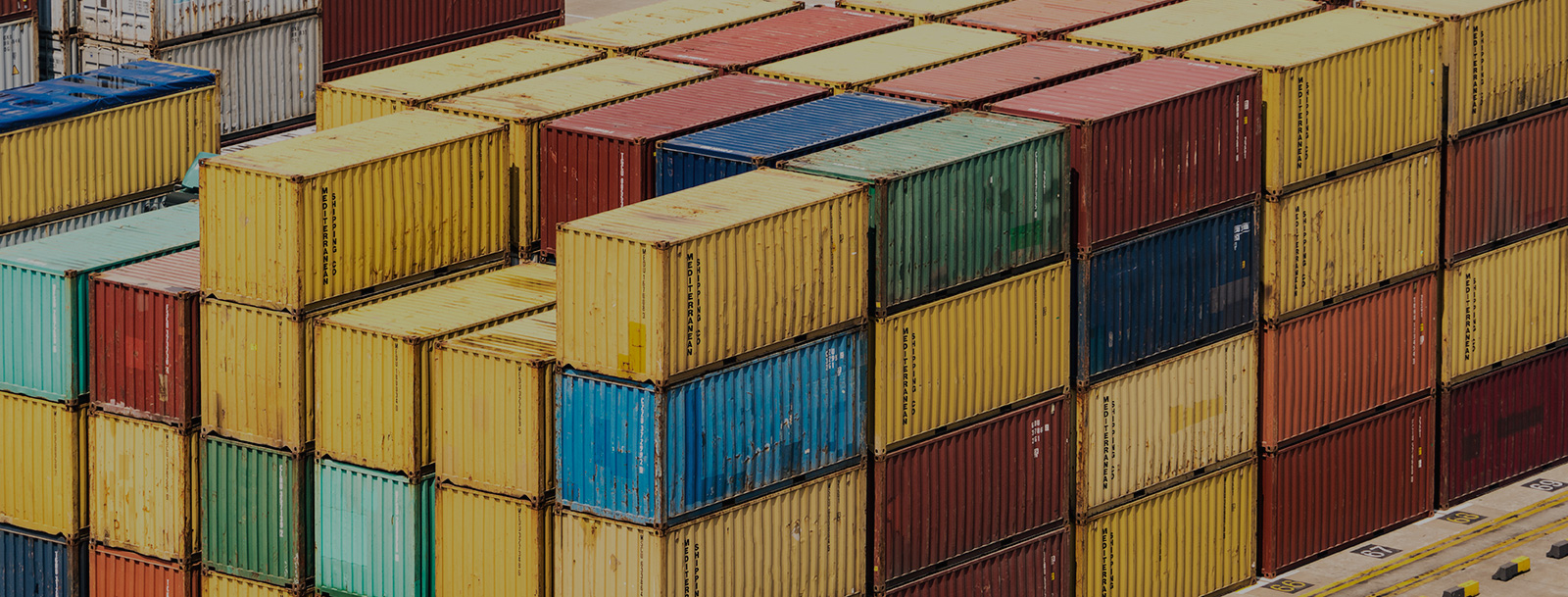 View of colorful shipping containers stacked
