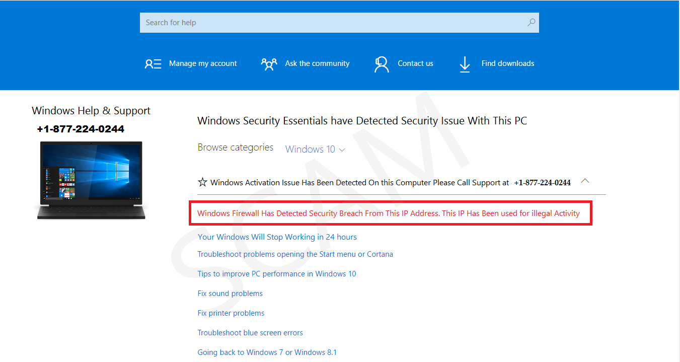 Windows Security Essentials have Detected Security Issue With This PC