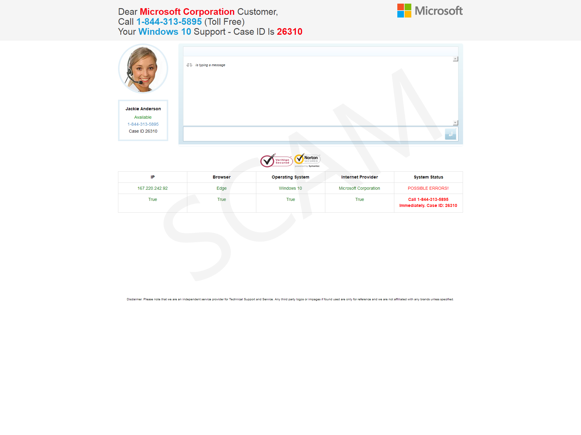 Your Windows 10 Support – Case ID Is 26310