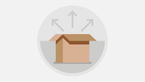 Illustration of box with multiple arrows deploying