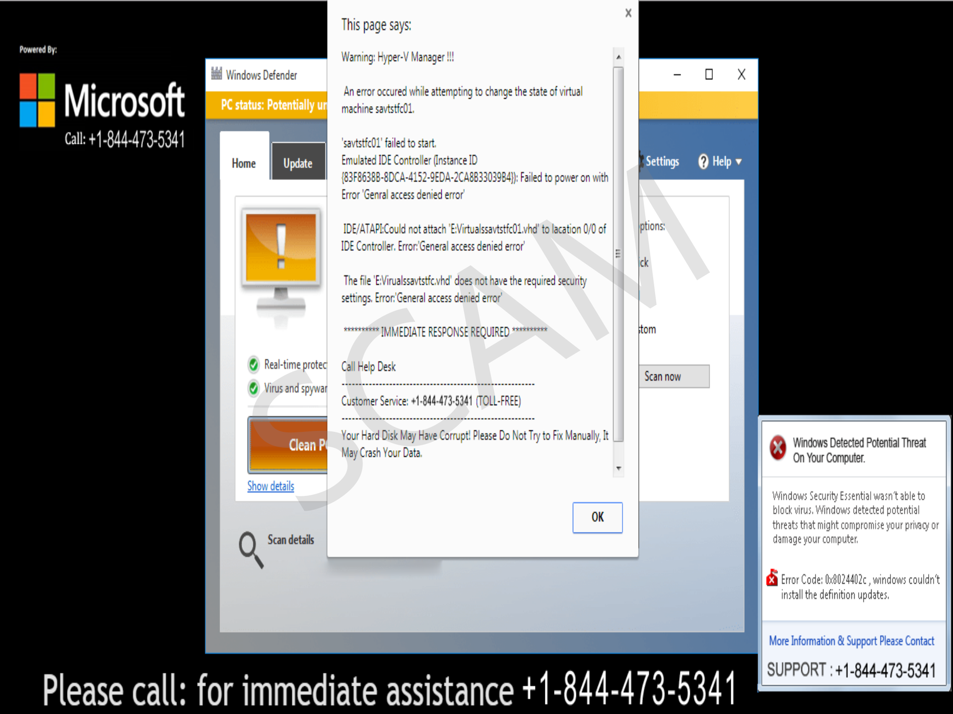 Tech support scams Windows Defender Security Intelligence