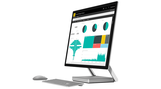 Ordinateur de bureau Surface Studio affichant un rapport Power BI