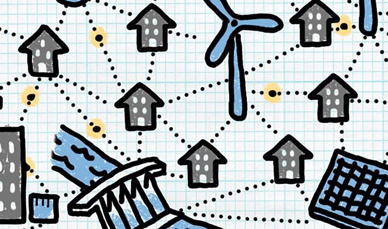 Illustration of homes, wind turbines and solar panels