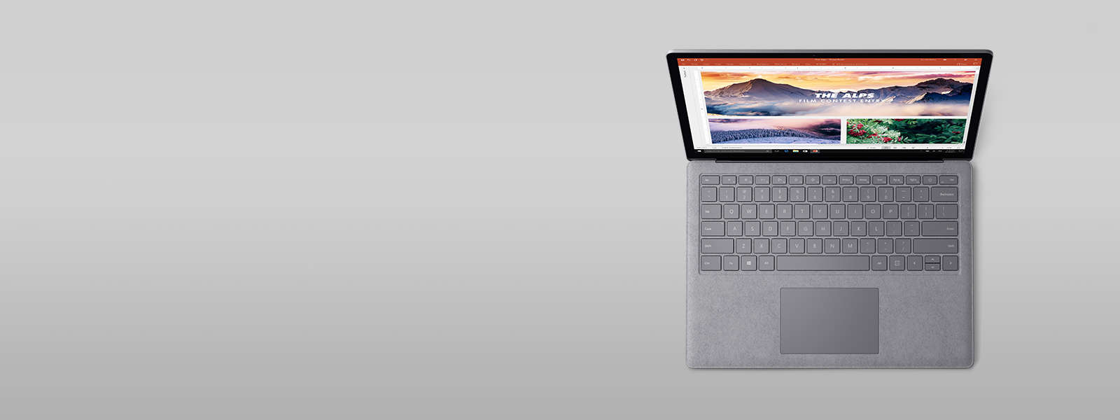 Perfect surfaces product display - Surface Laptop Running Powerpoint