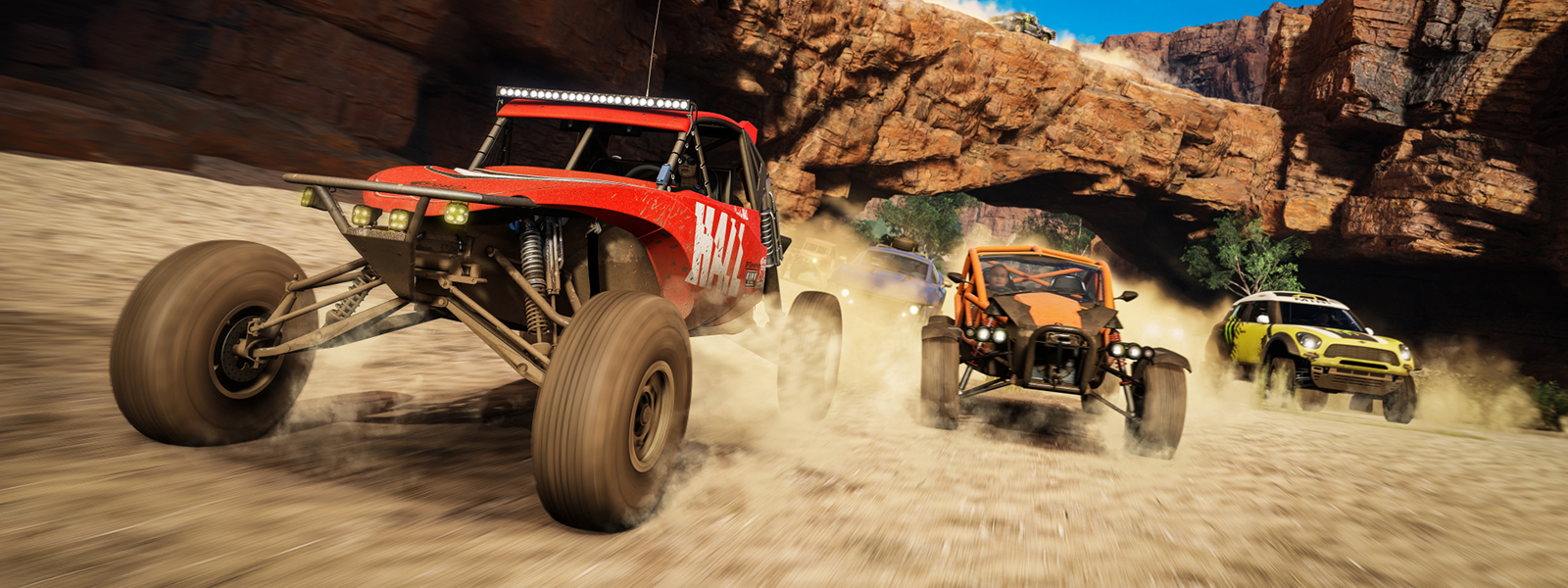 Forza screenshot of three cars racing