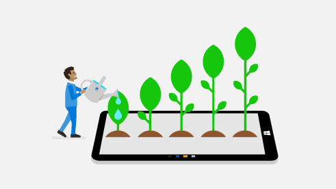 Illustration of a person watering a row of progressively taller plants that are growing out of a Windows 10 tablet screen.
