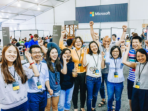 Microsoft employees at a Give Campaign event