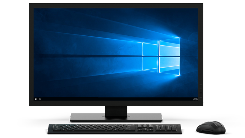 Monitor de computador Windows 10 exibindo a tela inicial