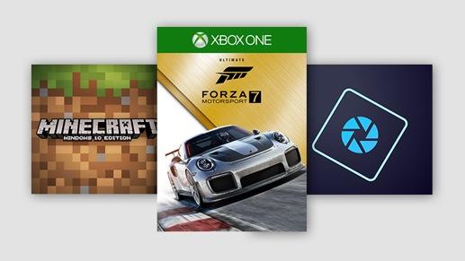 Piezas de aplicaciones Minecraft, Forza 7 y Photoshop Elements