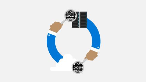 2 本の腕が、クラウドとサーバー間のネットワークを示す円の形になっているイラスト。
