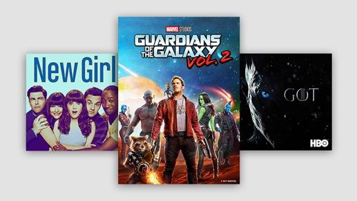 El álbum Reputation de Taylor Swift, una funda de DVD de Guardians of the Galaxy Vol. 2 y logotipo de Game of Thrones