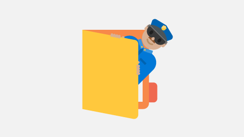 Illustration of a security officer peeking out from a folder.