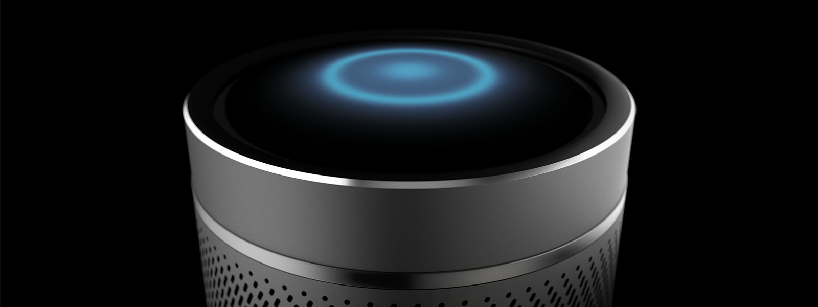 Top of Invoke speaker showing Cortana glow