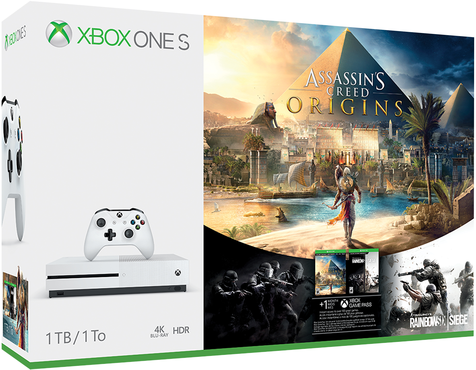 Pack Xbox One S – Assassin's Creed Origins et Rainbow Six Siege (1 To)