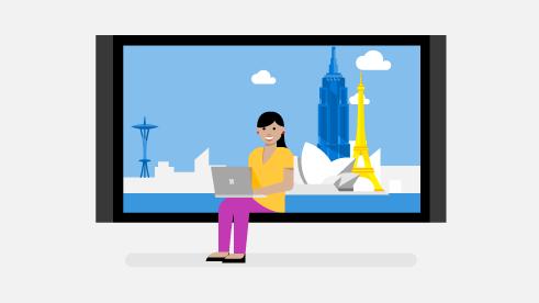 大画面の中にノート PC を持って座っている女性が描かれたイラスト。