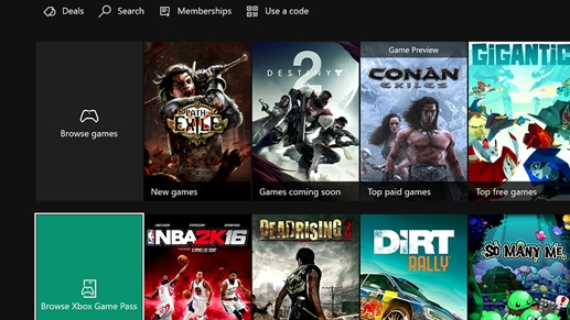 Store screen on Xbox console
