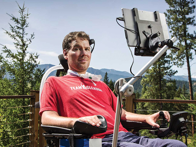 Steve Gleason using Microsoft Surface device