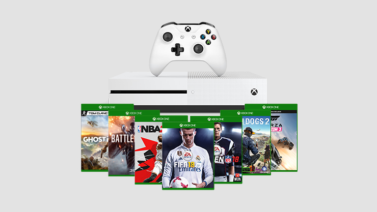 Xbox One console with controller on top featuring Xbox best sellers games