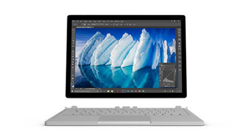 Surface Book с клавиатурой, отсоединенной от монитора