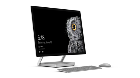 Surface Studio with wireless keyboard and mouse accessories