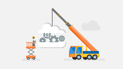Illustration of a crane moving a cloud filled with settings and gear icons.