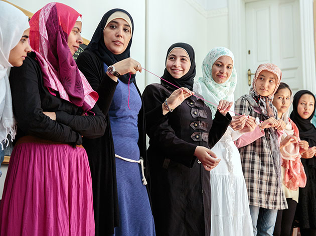A group of female Syrian refugees