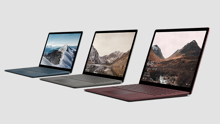 Surface Laptop in den Farben Kobalt Blau, Graphit Gold und Bordeaux Rot