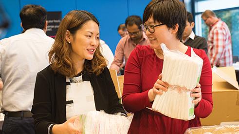 A group of Microsoft employees volunteering at American Red Cross during National Volunteer Week