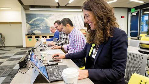 A Microsoft employee volunteering with Missing Maps nonprofit organization