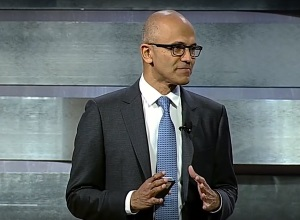 Satya Nadella giving a presentation.