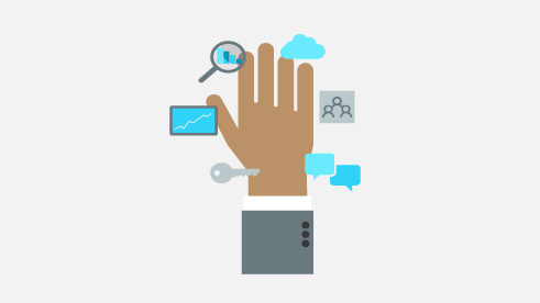 Illustration of hand with floating icons of devices and apps.