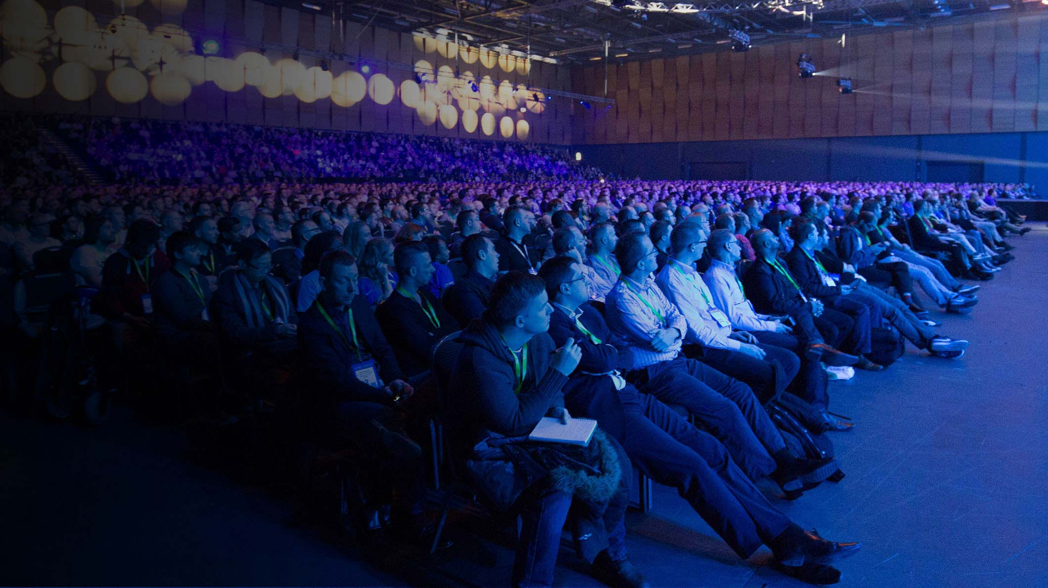 Audience watching a presentation at the Microsoft Future Decoded event