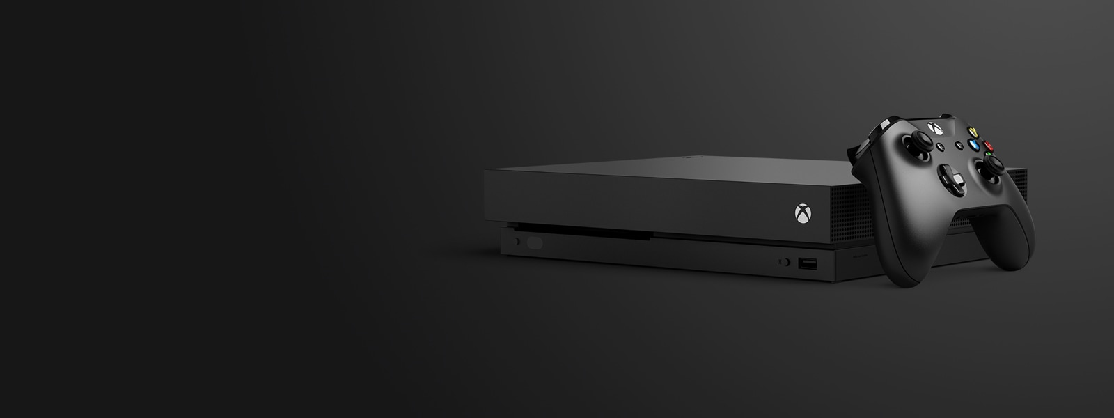 En Xbox One X med kontroller