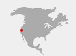 Map of North America highlighting Santa Barbara California