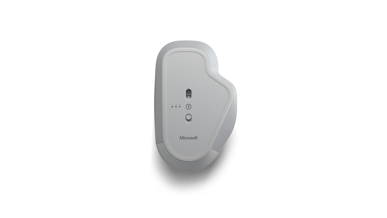 Bottom view of Surface Precision Mouse that shows the Bluetooth and Smart Switching indicators.
