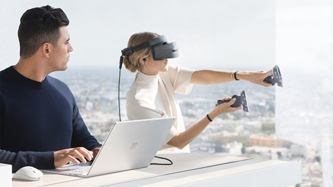 Surface device with a Virtual Reality headset attached