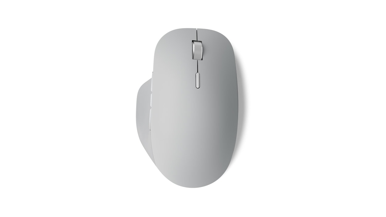 Top view of Surface Precision Mouse that shows the scroll wheel and side grips.