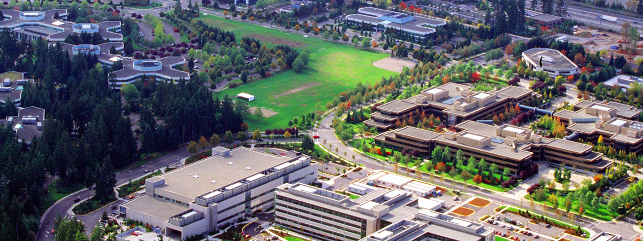 Aerial view of Microsoft Redmond campus