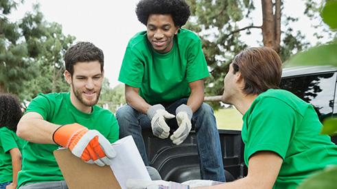 Volunteers planning before clean up