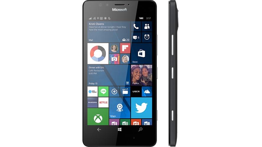 black lumia 950 facing forward with start screen on display