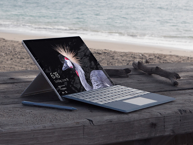 Surface Pro on picnic table on the beach