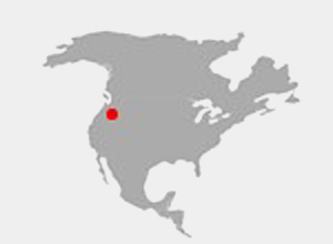 Map of North America highlighting Redmond Washington