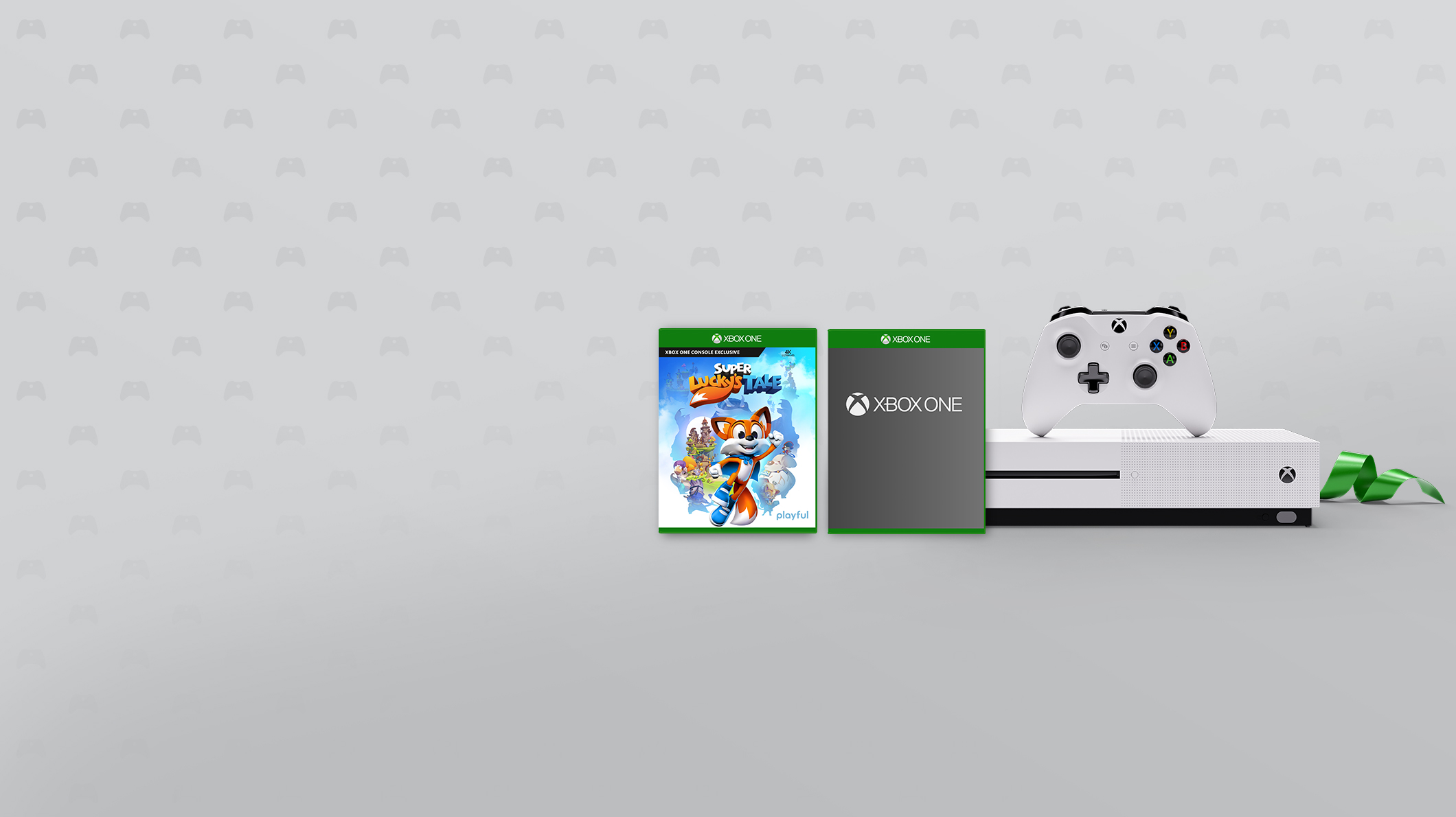 An Xbox One S, controller, and two games