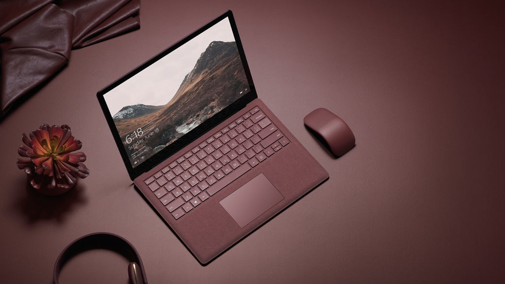 Surface Arc Mouse Burgundy and Surface Laptop Burgundy