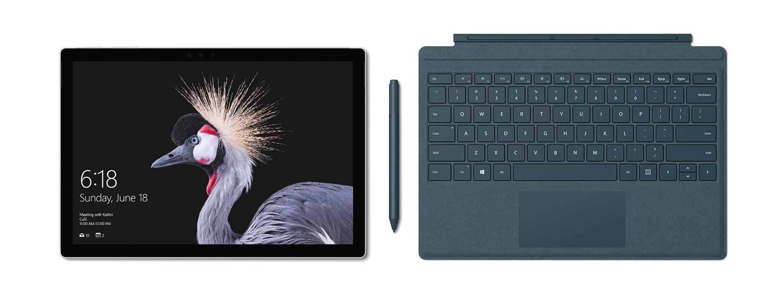 Surface Pro with cobalt blue Surface Pen and Type Cover